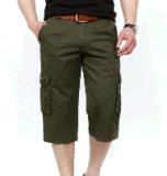 Pantaloni di scarsità di verde verde oliva di modo di svago della tela di canapa della saia del cotone degli uomini superiori