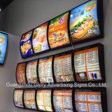 Signe de cadre léger de menu/cadre léger de restaurant
