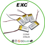 Polymer-Plastik Lithium-Ion Battery 552040 420mAh 3.7V China Supply