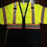 Camiseta de la seguridad con la tela que hace punto reflexiva de la venda 100%Polyester de la precaución