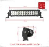 17 인치 72W 도로 빛과 LED 모는 빛 떨어져 SUV 차 LED를 위해 방수 두 배 줄 LED 표시등 막대의 LED 차 빛