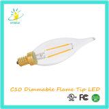 Luz ao ar livre do filamento do diodo emissor de luz da vela da ponta da flama de Stoele C10 Dimmable