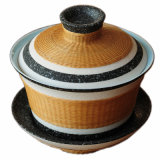 Il tè delle terraglie perfezionamento la tazza con il coperchio di bambù tessuto mano fine