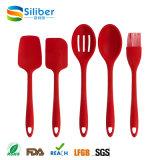 Наградной красный цвет утвари силикона высокого качества 5-Piece, комплекты утвари кухни силикона