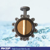 Válvula de borboleta de bronze do disco do Al-Bronze C95800 do elevado desempenho de Casted para a água de mar
