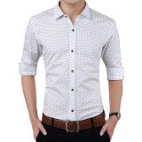 مصنع [أم] رجال طويل كم [درسّ شيرت] أبيض طباعة قميص