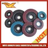 4 '' discos abrasivos de la solapa del óxido de la calcinación (cubierta 22*16m m de la fibra de vidrio)