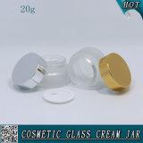20ml bereiftes kosmetisches Glasglas für Sahne mit Metallkappe