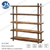 黒いクルミの青銅色のステンレス鋼フレームが付いている木製の本棚