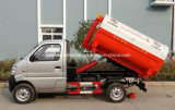 Mini carro de basura del brazo de gancho de leva de 6 ruedas 2 toneladas de 2m3 Changan de carro de la basura