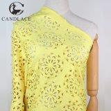 Желтая ткань шнурка отрезока лазера высокого качества цвета для платья партии Aso Ebi