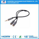 1.5m fabrikmäßig hergestelltes Gold überzogener Gleichstrom 3.5 bis Kopfhörer-Kabel des Audios-3.5