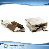 Rectángulo de regalo plegable plano del embalaje de la cartulina con el encierro magnético (xc-APC-001)