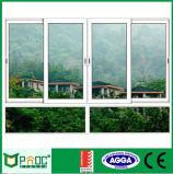 Guichet de glissement bon marché d'aluminium de double vitrage de Metel du plus défunt modèle (PNOC-W1012)