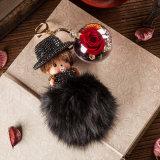 La promotion a préservé le trousseau de clés de Monchhichi de fleur pour le cadeau