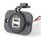 Dual USB Power Charger Socket Outlet com voltímetro para celular