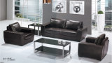 鋼鉄フィートが付いている優雅で黒いオフィスの部門別のソファ