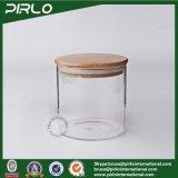choc en verre de vide de Borosilicate de 90ml 170ml 300ml 400ml 500ml600ml800ml avec le couvercle en bois en bambou de joint en caoutchouc pour la mémoire de nourriture d'épice