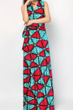 2017 Latest Design African Wax Impresso fora do ombro Sex Long Dresses