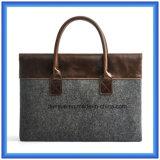 Fabrik kundenspezifischer Wolle-Filz-Laptop-Aktenkoffer-Hülsen-/Laptop-Beutel mit bequemem PU-Leder-Griff (Wolleinhalt ist 70%)