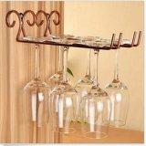 Mensola di vetro del supporto di vino del metallo di vetro della cremagliera del lato della tazza fissata al muro del basamento