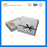 Rectángulo de papel rígido blanco del perfume de la cartulina de la estera de lujo con una tapa (con la bandeja interna del satén)