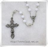 Collana di plastica religiosa del rosario del branello degli ultimi uomini di disegno del commercio all'ingrosso (IO-cr351)
