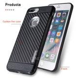 Caja de goma de la fibra del carbón del silicón para el iPhone 7 más