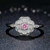 New Fashion Women 925 Prata Jóias Pink Diamond Flower Wholesale Ring