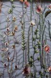女性ののためのDressingプラント刺繍が付いている豪華な網のレースファブリック