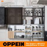 Línea recta cabina de cocina de los muebles de la cocina (PLCC17017) de la laca laminada y ULTRAVIOLETA de Oppein