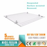 Verschobene/Oberflächen-eingehangene/vertiefte Installation LED täfelt 60*60/120*30/120*60cm Instrumententafel-Leuchte