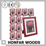 Frame de madeira vermelho da foto do retrato do tamanho feito sob encomenda para a decoração