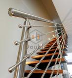Verfraait de Houten Trap van het roestvrij staal met Traliewerk Trap