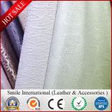 Le cuir pour le sofa de meubles a gravé le caoutchouc lavé assemblé de cuir de configuration estampé par pli de cuir artificiel de PVC de miroir