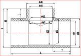 DIN стандартное CPVC уменьшая тройник от Dn20*15 к Dn400*300