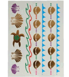 De kleurrijke Gouden Sticker van de Tatoegering van de Schildpad Metaal Waterdichte Tijdelijke