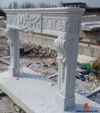 Mármol blanco anillo de la chimenea de piedra de Mantel antiguo con talla de flor