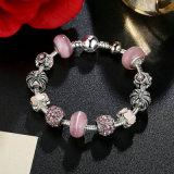 Bracelete de charme de alta qualidade e pérolas de Murano rosa Jóias de pulseiras CZ