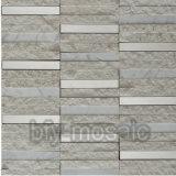 Acero inoxidable mezclado del nuevo de la tira de la piedra del azulejo mosaico gris del mármol (FYSM026)