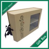 リボンおよびPVC Windowsが付いている堅いペーパーギフト用の箱