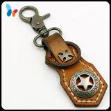 Metal de couro personalizado Keychain para homens