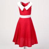 Kleding van de Zomer van de Meisjes van de Kraag van Peter Pan van de Opslag van de Detailhandelaar van de kleding Sleeveless Rode