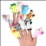 Marioneta rellena educativa de encargo linda del dedo de la felpa
