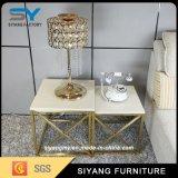 Mesa de café pequena de luxo de aço inoxidável de pintura dourada