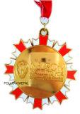 Medaglia del premio per la maratona mezza con la nichelatura ed il nastro