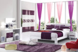 Modèle en bois coloré moderne de meubles de chambre à coucher de double bâti