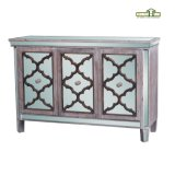 2 - Table de nuit en bois de meubles de tiroir avec le bâti de miroir dans le fini normal de bois de construction