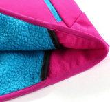 La signora Coat Clothes del panno morbido con il cappuccio e la chiusura lampo negli sport di modo Outwear Fw-8812