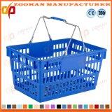 Paniers à provisions portatifs en plastique bon marché en gros avec les traitements en métal (Zhb104)